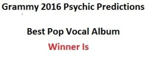 2016 Best Pop Vocal Album grammy