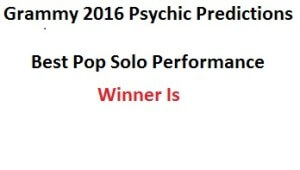 2016 Best Pop Solo Performance Grammy Prediction