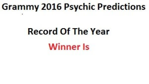 record of the year 2016 Grammy Prediction