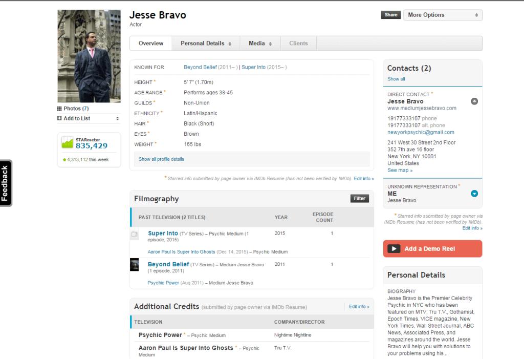 pro profile IMDb Jesse Bravo