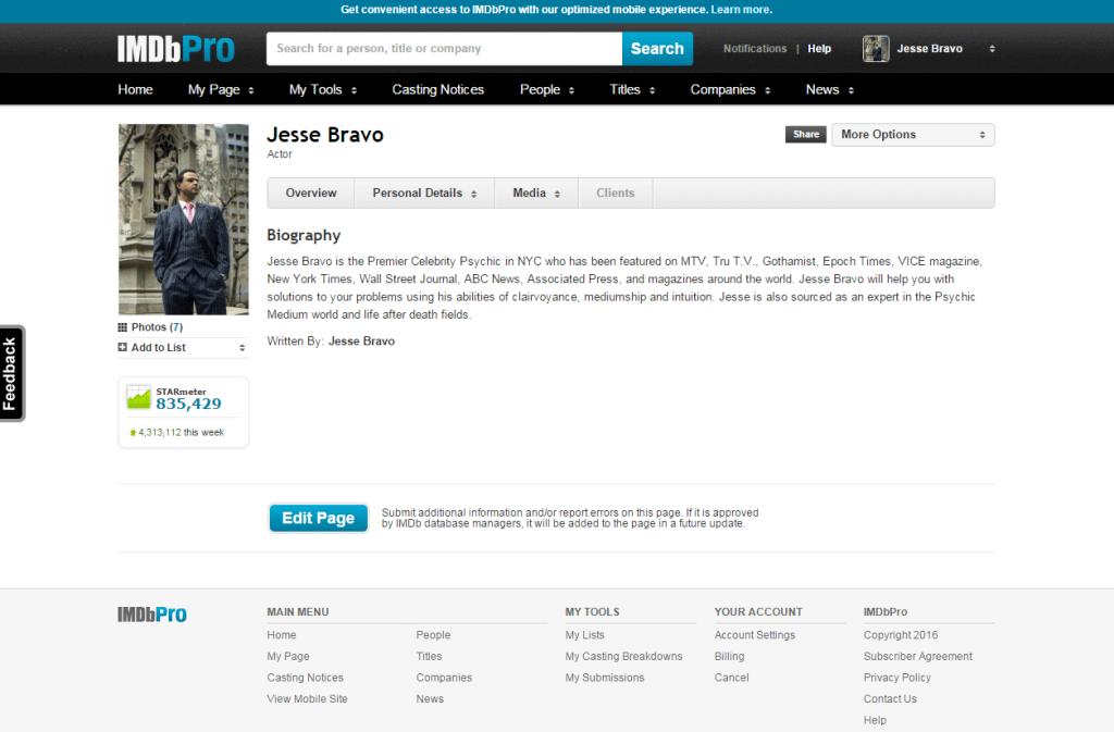 jesse bravo pro profile IMDb